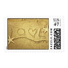 Love Heart Starfish Beach Wedding Invitation Stamp