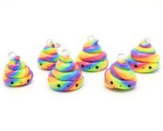 Mini Unicorn Poop Charm ~ Rainbow Keychain or Dust Plug by Emssy's Boutique #kawaii #unicorn #cute