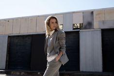 Grey suit, McQ Alexander McQueen, McQ, Alexander McQueen, grey coat, grey trousers, myer, amanda shadforth, oracle fox