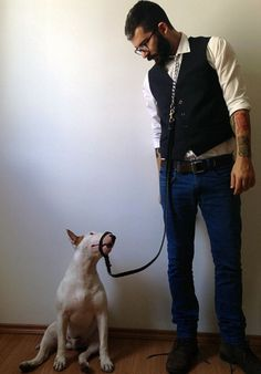 Rafael Mantesso and his English Bullterrier Jimmy Choo