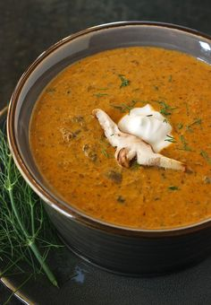 HUNGARIAN MUSHROOM BISQUE - just sub veggie broth and/or vegetarian beef-flavor broth for a veg version...