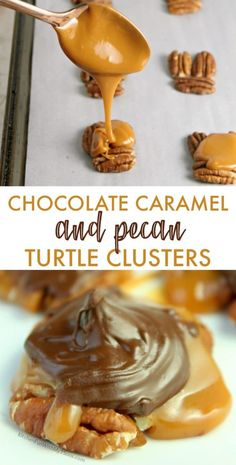 christmas candy This Chocolate Pecan Turtle Clusters Recipe is a holiday favorite we make for treats every year. With toasted pecans, homemade caramel sauce and chocolate, everyone adores these. Easy Candy Recipes, Chocolate Candy Recipes, Sweet Recipes, Chocolate Caramels, Chocolate Candies, Chocolate Cake, Köstliche Desserts, Delicious Desserts, Dessert Recipes