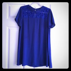 Beautiful blue dress/tunic Purchased from another Posher but never wore it. Perfect condition. Super cute lace at the top. Can be worn as a short dress or a tunic/longer blouse. Dresses Mini
