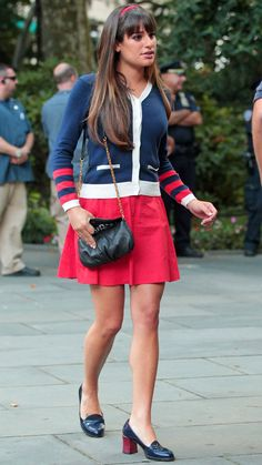 Lea Michele's Rachel Wears a Navy Sweater and Red Skirt While Filming Glee Season 4 in New York City on August 12, 2012