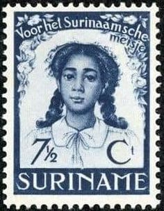 "Surinam 1938 Scott 7 Indigo ""Surinam Girl"" Abolition of Slavery in Surinam Anniversary - Diana - Pinnwande Cross Symbol, Postage Stamp Art, State Of Oregon, Argentine, East Indies, Diana, Indigo, Stamp Collecting, Uruguay"