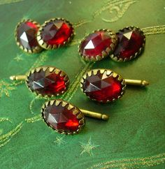 VIctorian Elegant Faceted Red Czech Glass by NeatstuffAntiques