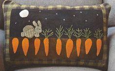 SALE - Primitive Folk Art Wool Applique Pattern: MR. MCGREGGOR'S Garden by PrimFolkArtShop on Etsy
