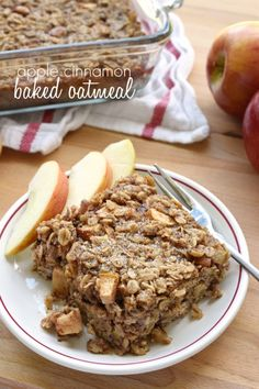 Apple Cinnamon Baked Oatmeal ~ loaded with tender apples, spiced with warm cinnamon, and lightly sweetened with maple syrup, this wholesome breakfast is sure to become a new fall favorite! Make it Vegan use Flax eggs instead of eggs. Baked Apple Oatmeal, Baked Oatmeal Recipes, Apple Recipes, Amish Recipes, Baked Apples, Breakfast Cookies, Breakfast Dishes, Breakfast Recipes, Banana Breakfast