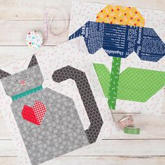 We've sewn right through our first month of the Farm Girl Vintage 2 Quilt Along! We're sew excited Quilt Square Patterns, Paper Piecing Patterns, Farm Quilt, Bee In My Bonnet, Bazaar Crafts, Mini Quilts, Baby Quilts, Sampler Quilts, Animal Quilts