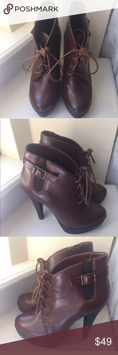 Charles David size 7 brown leather booties Charles David size 7 brown leather booties. In new like condition. Charles David Shoes Ankle Boots & Booties