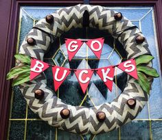"Chevron Burlap Ohio State Wreath with Banner, 18"", GO BUCKS"