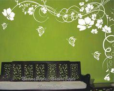 Mädchen Wand Aufkleber Blume Wand Aufkleber von NatureStyle auf Etsy