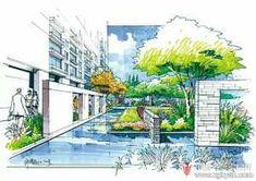 Landscape Architecture Drawing, Landscape Design, Drawing Sketches, Drawings, Environmental Design, Gouache, Architects, Garden, Artwork