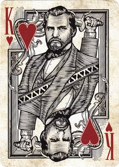 Playing Cards - Release Unique Playing Cards, Playing Cards Art, Jack Of Hearts, King Of Hearts, Unique Faces, Unique Art, Golden Spike, Deck Of Cards, Card Deck