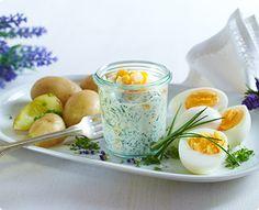 Rezept: Kräutersoße mit Pellkartoffeln und Eiern