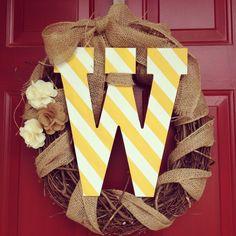 burlap letter wreath for the front door