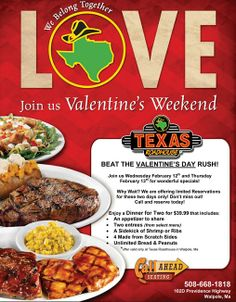valentines day specials at texas roadhouse - Valentines Day Food Specials