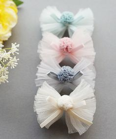 Sparkle Tulle Bows Neutrals Tulle bow by OrangeYouPeachy on Etsy Tulle Hair Bows, Diy Hair Bows, Diy Ribbon, Ribbon Bows, Cloth Flowers, Fabric Flowers, Hair Bow Tutorial, Baby Hair Accessories, Boutique Hair Bows