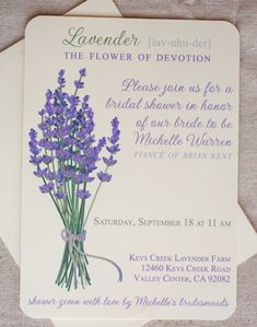 Fresh Picked Lavender Invitations that you canprint at home. We love Lavender.