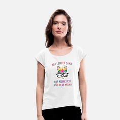 Das Lehrer Lama hat keine Zeit für dein Drama Frauen T-Shirt mit gerollten Ärmeln Neck T Shirt, Crew Neck Sweatshirt, Nyan Cat, Hoodie Dress, How To Roll Sleeves, Cropped Hoodie, Sport T Shirt, Custom Clothes, Long Sleeve Shirts