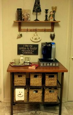 Coffee bar--baskets underneath for storage of paper goods, sugar, etc
