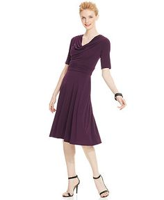Jessica Howard Short-Sleeve Cowl-Neck Dress - Dresses - Women - Macy's