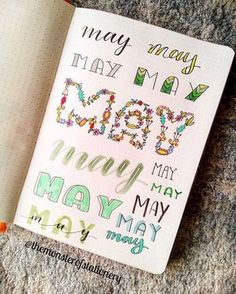 Hi everyone! I couldn't decide how to do the #may #coverpage so I did many different #lettering all together Enjoy! . . . #bujo…