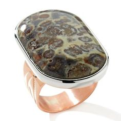 Jay King Mexican Pebble Stone Copper and Sterling Silver Ring