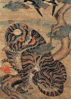 Korea Minhwa Magpie and tiger painting Korean Painting, Japanese Painting, Chinese Painting, Japanese Tiger, Japanese Art, Korean Art, Asian Art, Traditional Paintings, Traditional Art