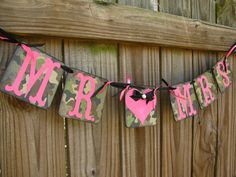 Camo and Pink Fuschia MR & MRS Garland Banner Wedding Decoration Camo Photo Prop