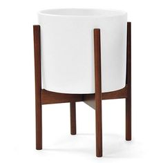Modernica Ceramic Cylinder with Wood Stand, White