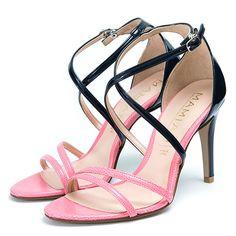 マミアン MAMIAN フロントダブルベルトクロスストラップハイヒールサンダル/3566 (ピンク/C) -靴とファッションの通販サイト ロコンド