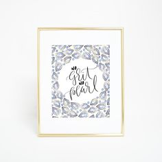 """Bring inspiration to your home decor with this oyster inspired wall art print, featuring the phrase, """"no grit no pearl."""""""