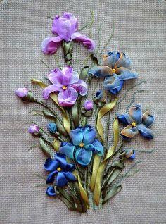 .lavender & blue flowers ribbon emb
