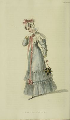 1828 - Ackermann's Repository Series 3 Vol 11 - April Issue (look at her awesome reticule!)