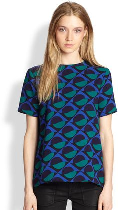 Marc By Marc Jacobs Blue Etta Printed Top