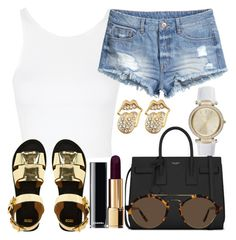 """""""Untitled #708"""" by kgoldchains ❤ liked on Polyvore featuring Topshop, H&M, Michael Kors, Yves Saint Laurent, Illesteva, ASOS and Chanel"""