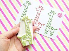 giraffe hand carved rubber stamp. safari animal stamp. birthday baby shower scrapbooking. diy gift wraps. holiday craft with children. large