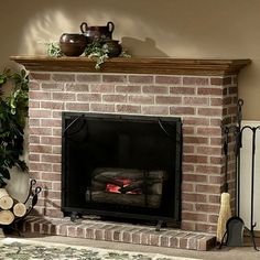 brick fireplace traditional model