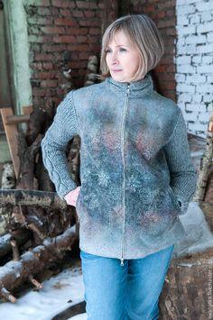 Купить Валяная куртка Март-2 - серый, авторская ручная работа, нуновойлок, куртка женская