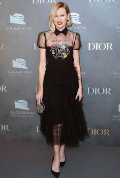 Naomi Watts in a black embroidered Dior dress