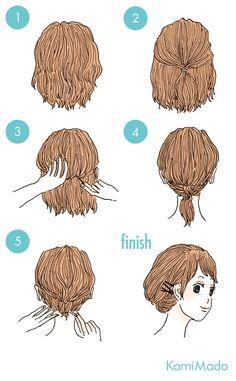 短いヘアスタイル, 髪のチュートリアル, Updos, ショートパンツ, 三つ編み, 髪のアイデア, ファッション, ヘアスタイル, チュートリアル