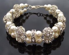 This is a stunning bracelet, especially for Brides, Ivory pearls with hand-set crystal beads and crystal rondelles and finished with a Sterling Silver clasp. Bridal Bracelet, Pearl Bracelet, Wedding Jewelry, Beaded Bracelets, Wedding Earrings, Wedding Bracelets, Crystal Beads, Crystals, Hair Jewelry