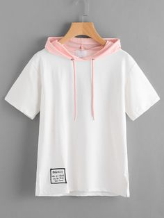 Shop Contrast Hooded Patch Slit Side Tshirt at ROMWE, discover more fashion styles online. Indian Fashion Dresses, Girls Fashion Clothes, Teen Fashion Outfits, Cute Comfy Outfits, Stylish Outfits, Cool Outfits, Romwe, Stylish Hoodies, Crop Top Outfits