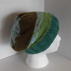 Green Knit Hat Multicolor Slouchy Beanie Hats Knitted Accessories, Fashion Knit Hats Retro Hipster Unisex Hats Caps Hand Knit Gifts by NeedleCraftNook on Etsy