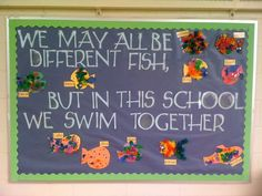 fish craft, hang up blue butcher paper with everyone's crafts in the cafeteria wall