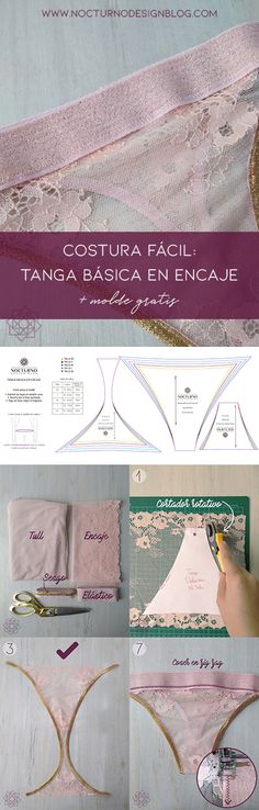 Costura f cil Tanga en encaje molde gratis Costura f cil Tanga en encaje molde gratis Micaela korol Micaela korol Tutorial de costura DIY ropa DIY costura Lingerie DIY lingerie Costura f cil paso hellip Coat Patterns, Sewing Patterns Free, Free Sewing, Clothing Patterns, Sewing Hacks, Sewing Tutorials, Underwear Pattern, Sewing Courses, Diy Kleidung