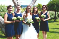With the bridesmaids !