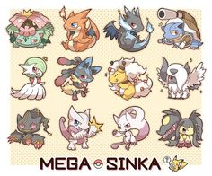 Adorable versions of various Mega Evolved Pokémon. Mega Charizard, Mega Pokemon, Pokemon Fan Art, Mega Gardevoir, Pokemon Pins, Mega Mawile, League Of Legends, Pikachu, Pokemon Tattoo