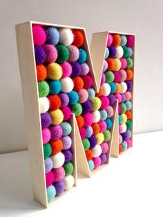 Felt ball filled Wooden Letter M. Free Standing by hoppsydaisy